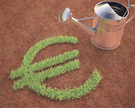 Watering the euro sign. Clipping path included. Stock Photo - Budget Royalty-Free & Subscription, Code: 400-07512772