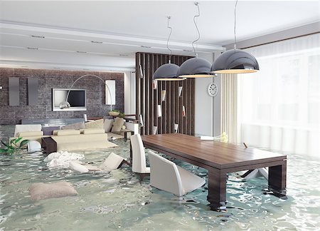 flooded homes - flooding in luxurious interior. 3d creative concept Stock Photo - Budget Royalty-Free & Subscription, Code: 400-07546658