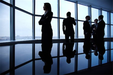 pressmaster (artist) - Group of colleagues standing along window in office Stock Photo - Budget Royalty-Free & Subscription, Code: 400-07548365