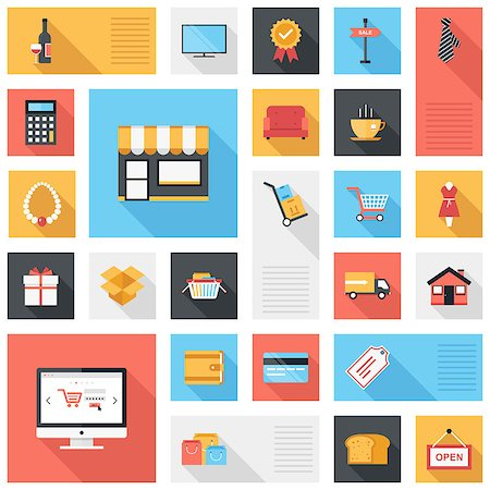 Vector collection of modern flat and colorful shopping icons with long shadow. Design elements for mobile and web applications. Stock Photo - Budget Royalty-Free & Subscription, Code: 400-07549356