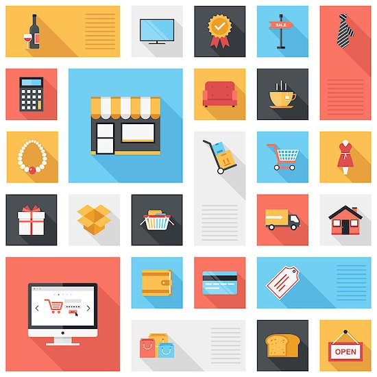 Vector collection of modern flat and colorful shopping icons with long shadow. Design elements for mobile and web applications. Stock Photo - Royalty-Free, Artist: vasabii, Image code: 400-07549356