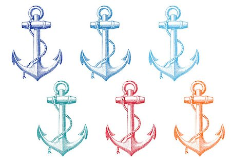 vintage anchor with rope, set of vector deign elements Stock Photo - Budget Royalty-Free & Subscription, Code: 400-07555420