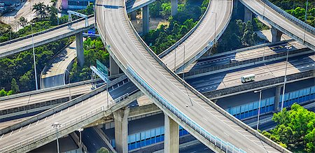 aerial view of the city overpass in early morning, Hon Kong,Asia China Stock Photo - Budget Royalty-Free & Subscription, Code: 400-07556223