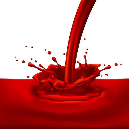 Pouring of red paint with splashes. Bright illustration on white background Stock Photo - Budget Royalty-Free & Subscription, Code: 400-07556799