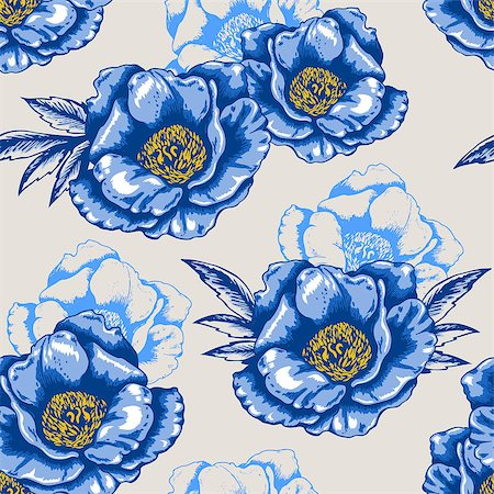 peony in vector - Vector decorative seamless pattern with blue flowers Stock Photo - Budget Royalty-Free & Subscription, Code: 400-07556869
