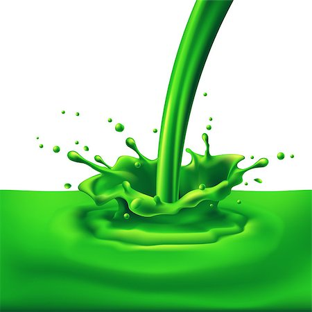 paint dripping graphic - Pouring of green paint with splashes. Bright illustration on white background Stock Photo - Budget Royalty-Free & Subscription, Code: 400-07556897