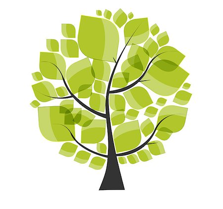 Beautiful Green Tree on a White Background Vector Illustration. EPS10 Stock Photo - Budget Royalty-Free & Subscription, Code: 400-07557911