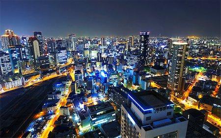 Panoramic view Osaka at night, Japan Stock Photo - Budget Royalty-Free & Subscription, Code: 400-07550277