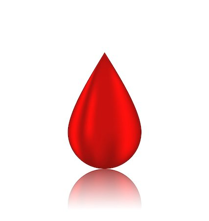 Illustration red blood drop with reflection, isolated on white background - vector Stock Photo - Budget Royalty-Free & Subscription, Code: 400-07551397