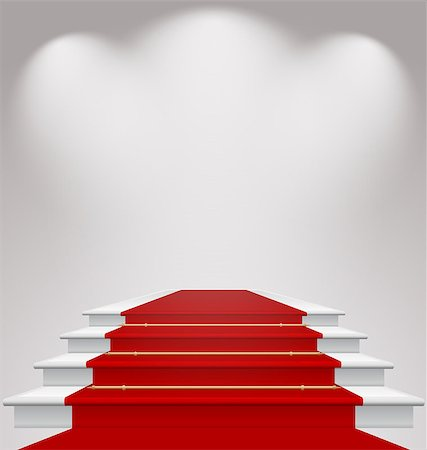 Illustration stairs covered with red carpet, scene illuminated - vector Stock Photo - Budget Royalty-Free & Subscription, Code: 400-07551489
