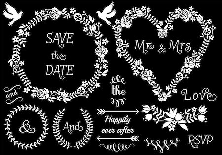 white floral wedding frames and laurel wreath, vector set on chalkboard Stock Photo - Budget Royalty-Free & Subscription, Code: 400-07552578