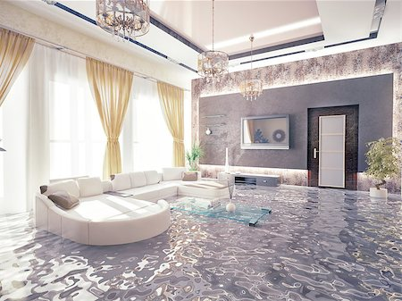 flooded homes - flooding in luxurious interior. 3d creative concept Stock Photo - Budget Royalty-Free & Subscription, Code: 400-07553732