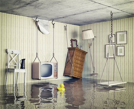 flooded homes - ordinary life in the flooded flat. 3d concept Stock Photo - Budget Royalty-Free & Subscription, Code: 400-07553741