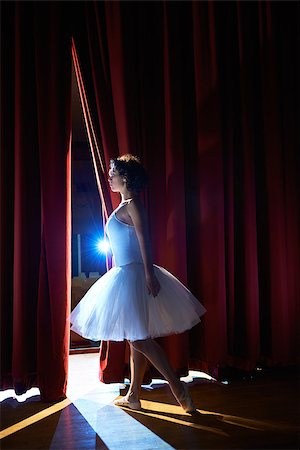 diego_cervo (artist) - Arts and entertainment in theatre with female classic dancer in tutu, standing behind the scenes and looking at stalls Stock Photo - Budget Royalty-Free & Subscription, Code: 400-07553767