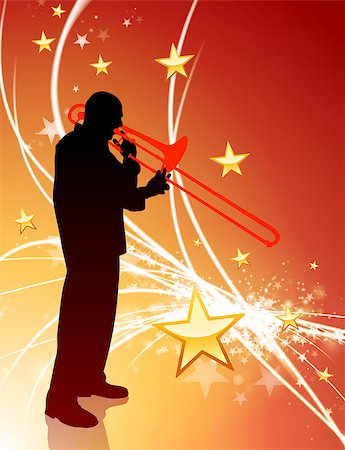 Trumpet Musician on Abstract Light Background with Stars Original Illustration Stock Photo - Budget Royalty-Free & Subscription, Code: 400-07567982