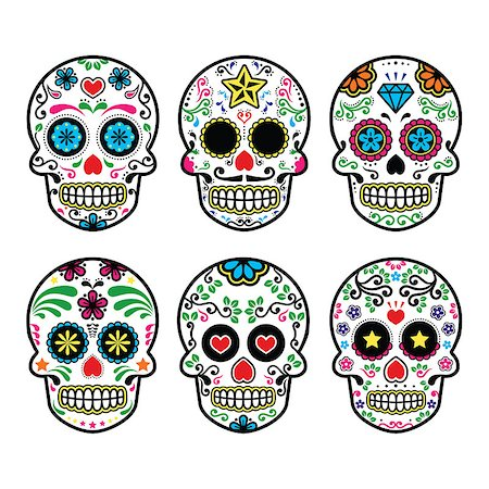 Vector icon set of decorated skull - tradition in Mexico, colorful icons isolated Stock Photo - Budget Royalty-Free & Subscription, Code: 400-07568384