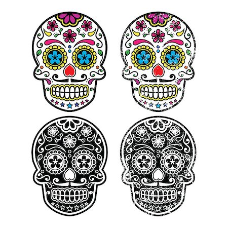 Vintage and colorful decorated skulls from Mexico isolated on white Stock Photo - Budget Royalty-Free & Subscription, Code: 400-07569231
