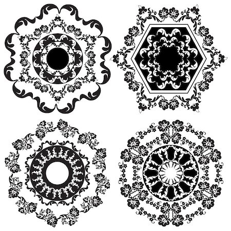 flower drawings black - Decorative Floral Design Elements editable vector illustration Stock Photo - Budget Royalty-Free & Subscription, Code: 400-07574228