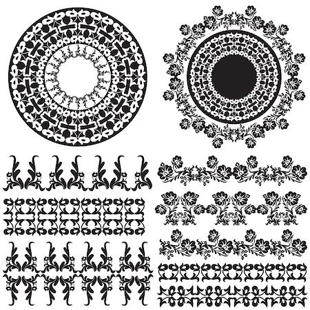 flower drawings black - Elegant Floral Design Elements editable vector illustration Stock Photo - Budget Royalty-Free & Subscription, Code: 400-07574238