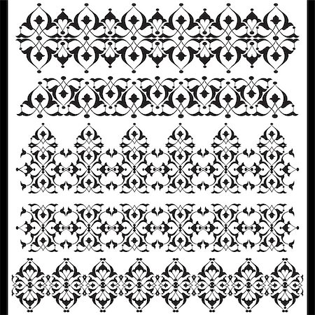 flower drawings black - Versions of Ottoman decorative arts, abstract flowers Stock Photo - Budget Royalty-Free & Subscription, Code: 400-07574230