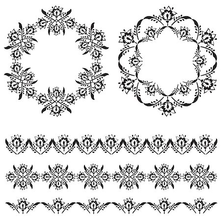 flower drawings black - Elegant Floral Design Elements editable vector illustration Stock Photo - Budget Royalty-Free & Subscription, Code: 400-07574231
