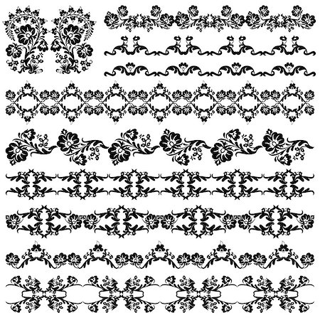flower drawings black - Elegant Floral Design Elements editable vector illustration Stock Photo - Budget Royalty-Free & Subscription, Code: 400-07574242