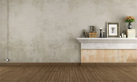 Empty vintage room with shelf in masonry - rendering Stock Photo - Budget Royalty-Free & Subscription, Code: 400-07574774