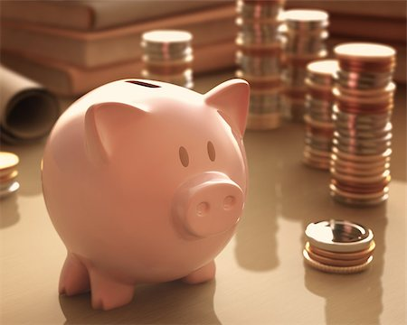 Gold coins and silver around the piggy bank. Stock Photo - Budget Royalty-Free & Subscription, Code: 400-07574971