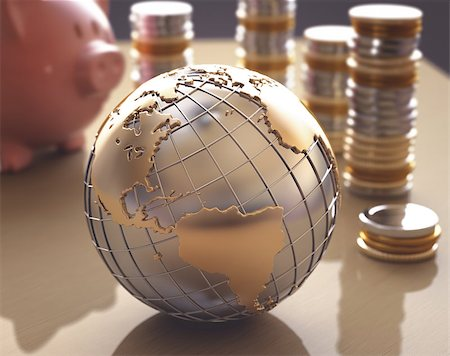 Planet Earth made â??â??of gold and silver on a concept of the business world. Stock Photo - Budget Royalty-Free & Subscription, Code: 400-07574972