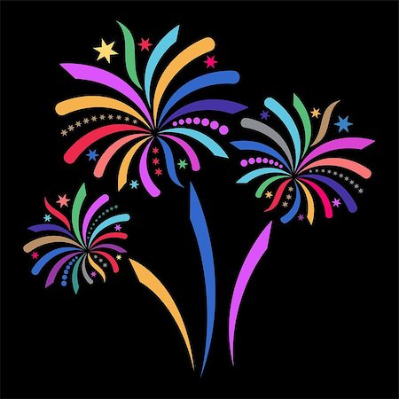 fireworks illustrations - Beautiful colorful vector firework isolated on black background Stock Photo - Budget Royalty-Free & Subscription, Code: 400-07575635