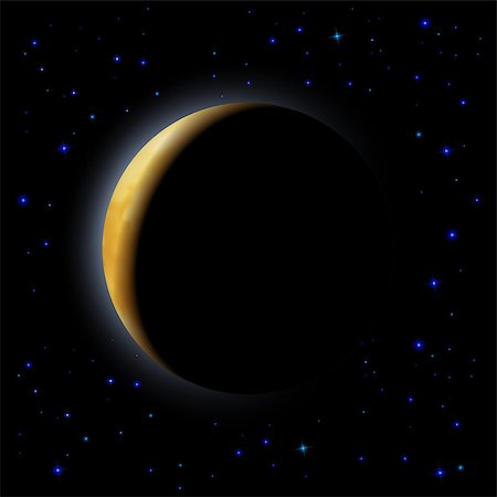 Partial eclipse of the moon in space Stock Photo - Budget Royalty-Free & Subscription, Code: 400-07579018