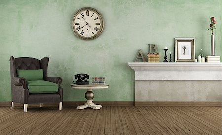 Old room wiht leather armchair and vintage objects - rendering Stock Photo - Budget Royalty-Free & Subscription, Code: 400-07579704