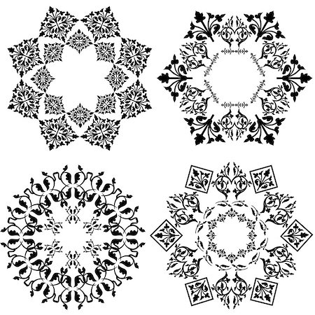 flower drawings black - Decorative Floral Design Elements, editable vector illustration Stock Photo - Budget Royalty-Free & Subscription, Code: 400-07571125