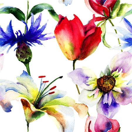 peony backgrounds - Seamless pattern with spring flowers, Watercolor painting Stock Photo - Budget Royalty-Free & Subscription, Code: 400-07573176
