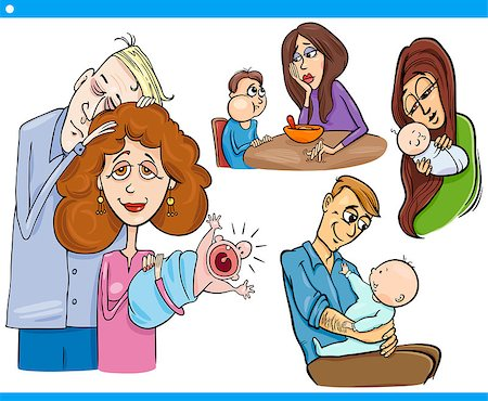 Cartoon Illustration Set of Parents with Children and Babies Stock Photo - Budget Royalty-Free & Subscription, Code: 400-07573391
