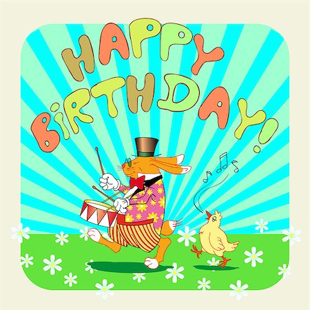 birthday greeting card with rabbit, vector illustration Stock Photo - Budget Royalty-Free & Subscription, Code: 400-07573944