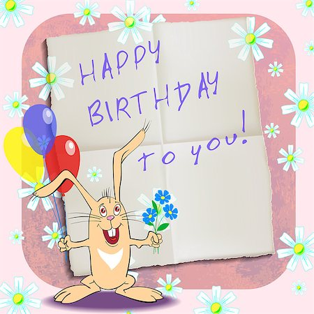 birthday greeting card with rabbit, vector illustration Stock Photo - Budget Royalty-Free & Subscription, Code: 400-07573941