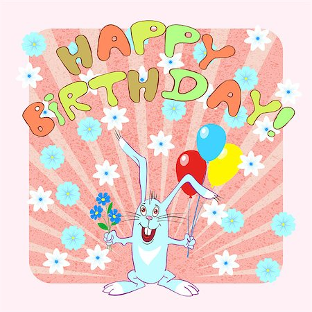 birthday greeting card with rabbit, vector illustration Stock Photo - Budget Royalty-Free & Subscription, Code: 400-07573942