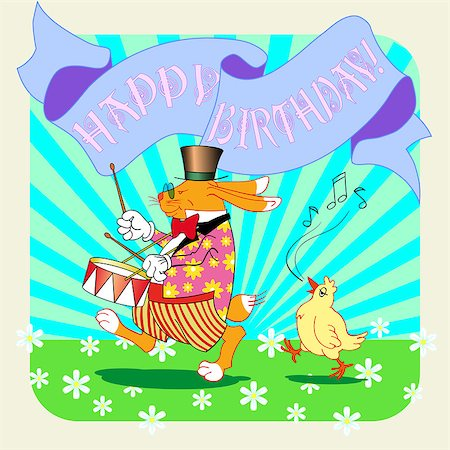 birthday greeting card with rabbit, vector illustration Stock Photo - Budget Royalty-Free & Subscription, Code: 400-07573943