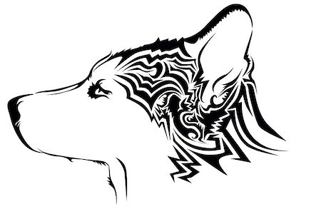 Tribal wolf tattoo Stock Photo - Budget Royalty-Free & Subscription, Code: 400-07573969