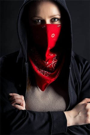 pzromashka (artist) - On a black background girl formidable form in black hood with a red shawl on his face Stock Photo - Budget Royalty-Free & Subscription, Code: 400-07584609