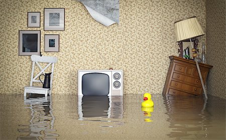 flooded homes - Flooded vintage interior. 3d concept Stock Photo - Budget Royalty-Free & Subscription, Code: 400-07615135