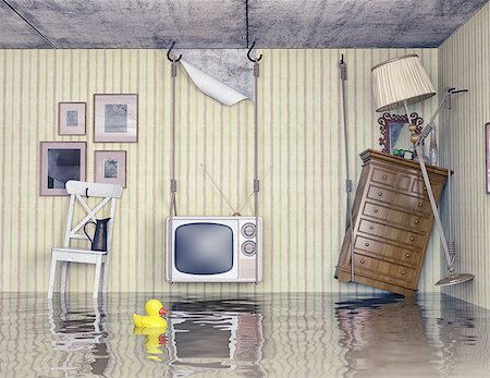 flooded homes - ordinary life in the flooded flat. 3d concept Stock Photo - Budget Royalty-Free & Subscription, Code: 400-07615136