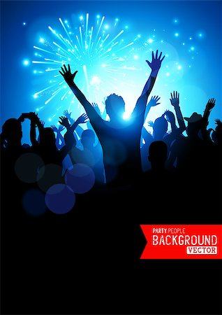 fireworks illustrations - Big Party Crowd. A huge crowd of young people celebrating. Vector illustration. Stock Photo - Budget Royalty-Free & Subscription, Code: 400-07615147