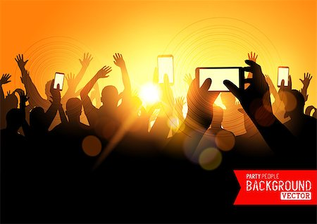 firework illustration - Festival Crowd Vector, people at a concert with smartphones. Vector illustration Stock Photo - Budget Royalty-Free & Subscription, Code: 400-07615148