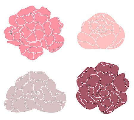 Sweet Peony flowers collection. Vector Illustration Stock Photo - Budget Royalty-Free & Subscription, Code: 400-07616157