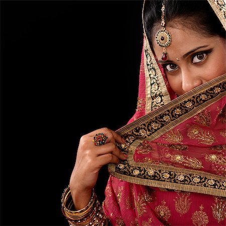 Portrait of beautiful mystery young Indian woman covering her face by veil, looking at camera, copy space at side, isolated on black background. Stock Photo - Budget Royalty-Free & Subscription, Code: 400-07616579