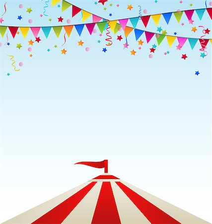 Illustration circus striped tent with flags- vector Stock Photo - Budget Royalty-Free & Subscription, Code: 400-07616666