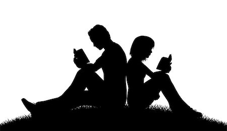Editable vector silhouette of a couple sitting outside reading with figures as separate objects Stock Photo - Budget Royalty-Free & Subscription, Code: 400-07618916