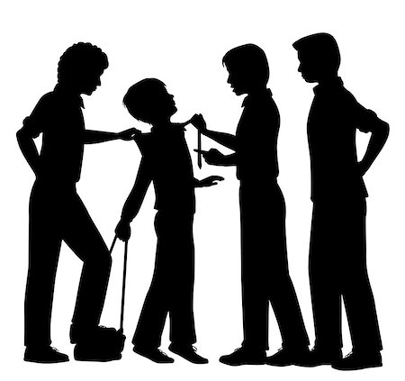 Editable vector silhouettes of older boys bullying a younger boy with all figures as separate objects Stock Photo - Budget Royalty-Free & Subscription, Code: 400-07618913